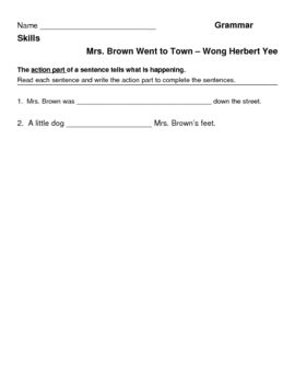 Mrs. Brown Went to Town - Grammar Skills - Action Parts of a Sentence