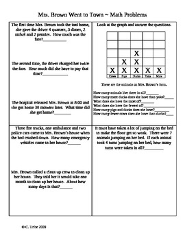 Mrs. Brown Went to Town ~ Math Activity Pages ~ 2nd Grade HM® Reading