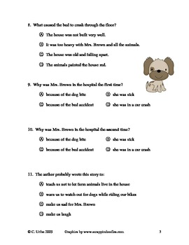 Mrs. Brown Went to Town ~ Reading Comprehension/Vocabulary Quiz/Test