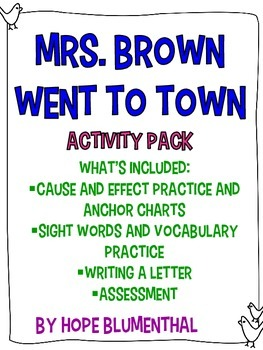 Mrs. Brown Went to Town Reading Response Packet