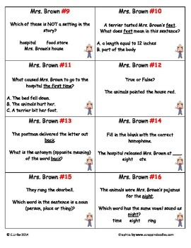 Mrs. Brown Went to Town ~ Scoot Game ~ Reading and Language Arts ~ Task Cards
