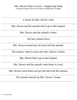 Mrs. Brown Went to Town Story Sequence Strips ~ HM® Reading