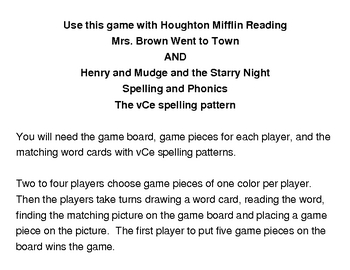 Mrs. Brown Went to Town and Henry and Mudge Spelling Game Board