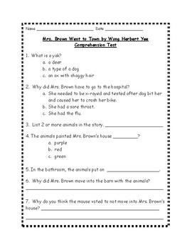 Mrs. Brown Went to Town by Wong Herbert Yee Comprehension Test