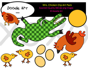 Mrs. Chicken Clipart Pack