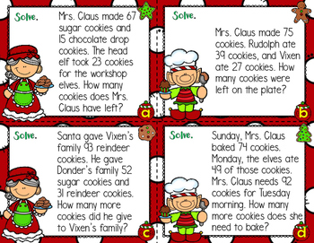 Mrs. Claus' Cookies 2 Step Word Problems Addition & Subtraction Christmas