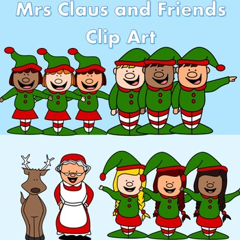Mrs Claus and Friends - Christmas Clip Art