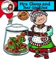 Mrs. Claus and her cookies clip art set