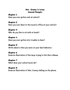 Mrs. Cooney is Loony comprehension questions