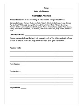 Mrs. Dalloway Character Analysis Activity - Virginia Woolf