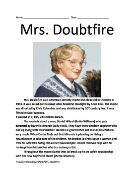 Mrs. Doubtfire - Robin Williams - Movie Facts Lesson Questions information