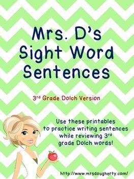 Sight Word Sentences - 3rd Grade Dolch Version