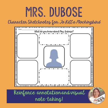 Mrs. Dubose Character Sketchnotes for To Kill a Mockingbird