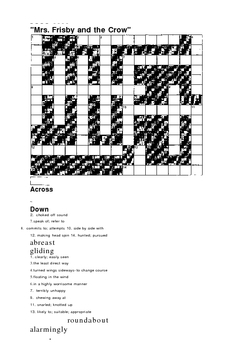 Mrs. Frisby crossword and vocab wksht