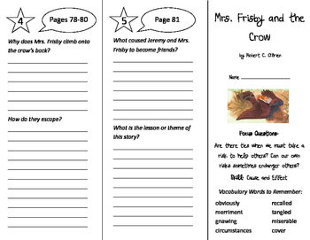 Mrs. Frisby and the Crow Trifold - Imagine It 4th Grade Un