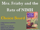 Mrs. Frisby and the Rats of NIMH Choice Board Novel Study Activities Menu