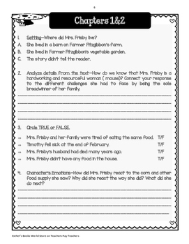 Mrs. Frisby and the Rats of NIMH  - Comprehension & Vocabulary