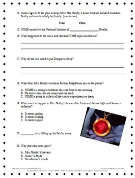Teacher's Resource Packet for Mrs. Frisby and the Rats of NIMH by ...