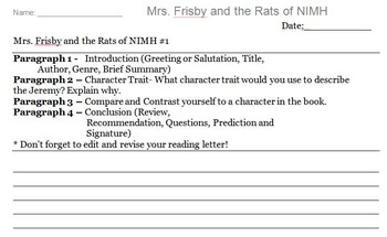 Mrs. Frisby and the Rats of NIMH Novel Assignment