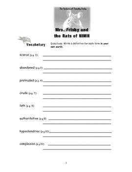 Mrs Frisby And The Rats Of Nimh Worksheets - Checks Worksheet