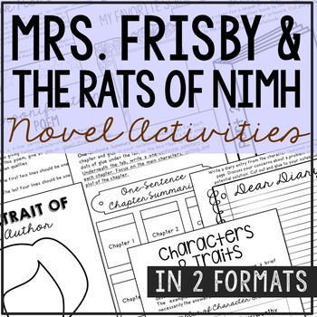 Mrs frisby and the rats of nimh novel study teaching resources mrs frisby and the rats of nimh novel study unit activities in 2 formats fandeluxe Image collections