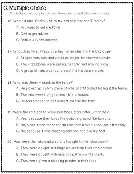 Mrs. Frisby and the Rats of NIMH Test: Final Book Quiz with Answer Key