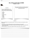Mrs. Frisby and the Rats of NIMH Work Sheet Chapters 1-2