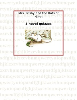 Mrs frisby and the rats of nimh quizzes teaching resources mrs frisby and the rats of nimh complete pack of novel quizzes fandeluxe Gallery