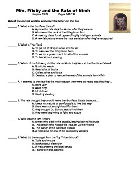 Mrs. Frisby and the Rats of Nimh - quiz on ch 19-24 (p 45-88)