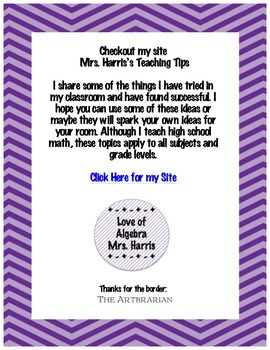 Mrs. Harris's Teaching Tips