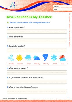 Mrs Johnson Is My Teacher (with 'Triple-Track Writing Lines')