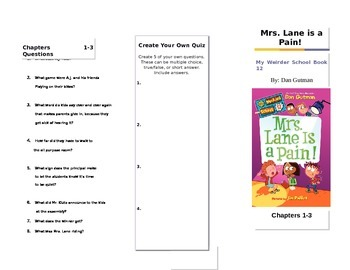 Mrs. Lane is a Pain by Dan Gutman My Weirder School Book #12 Trifold