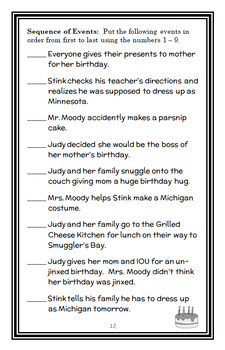 Mrs. Moody in The Birthday Jinx (Megan McDonald) Novel Study (16 pages)