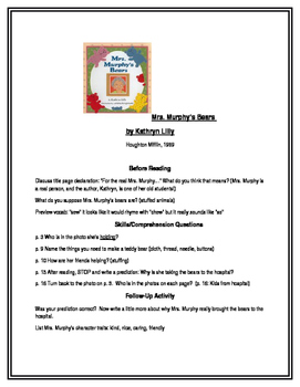 Mrs. Murphy's Bears by K. Lilly for Guided Reading (Houghton Mifflin)