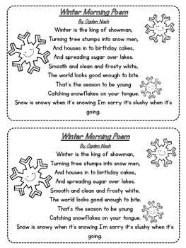 Mrs. Russell's Poetry Journal Poems for January {FREEBIE}