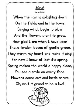 Mrs. Russell's Poetry Journal Poems for March