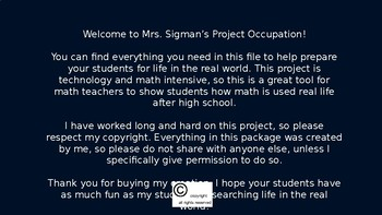 Mrs Sigmans Project Occupation