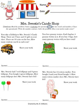 Mrs. Sweetie's Candy Shop 2 step word problems MCC.3.OA.8
