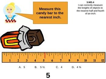 Candy Common Core Unit review 3  multiplication, graphs, division, measurement