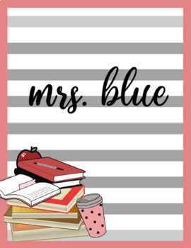 Mrs. Teacher Binder Cover binder Editable size A4