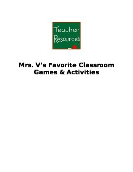 Mrs Vs Favorite Games & Activities