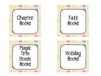 Mrs. V's Polka Dot Book Bin Labels
