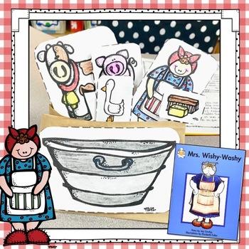 Mrs. Wishy Washy Story Retelling Stick Puppets with Tub:  Farm Theme Activity