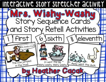 Mrs. Wishy-Washy Story Sequence and Retelling Cards WITH Activities (Math ELA)