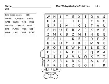 Mrs. Wishy-Washy's Christmas Word Search