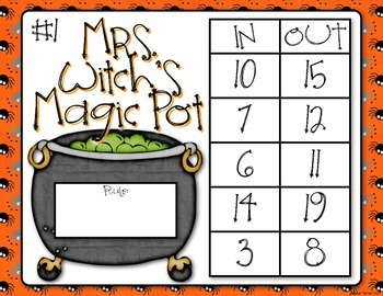 Halloween Input - Output Table Lesson: Mrs. Witch's Magic Pot