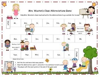 Mrs. Wooten's Class Abbreviation Game