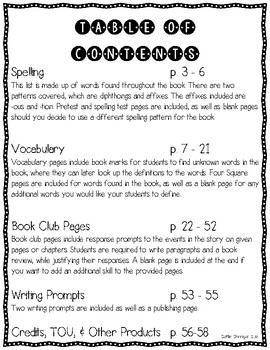 Ms. Cuddy is Nutty Literature Circle – Word Lists, Comprehension & Writing