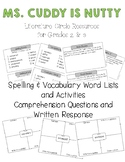 Ms. Cuddy is Nutty Literature Circle – Word Lists, Compreh