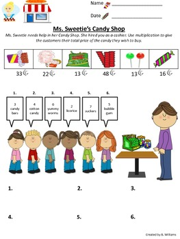 Ms. Sweetie's Candy Shop Long multiplication 2 digit
